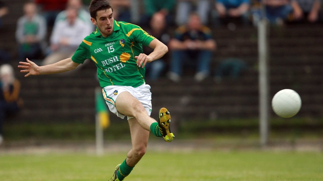 Kevin Conlon of Leitrim scores but it wasn't enough to keep them in the Championship