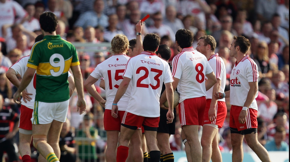 The sending off of Brian McGuigan put paid to Tyrone's hopes of victory