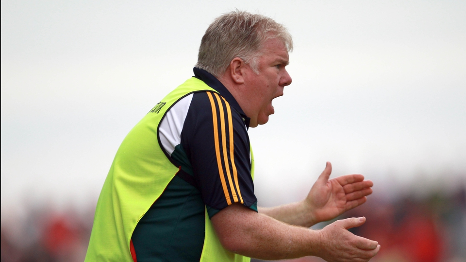 Leitrim co-manager Barney Breen was on hand to encourage his charges