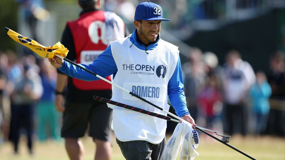 Carlos Tevez turned his hand to a bit of caddy duty on Sunday, not helping compatriot Andres Romero read the greens - the Argentinian hit a 12-over 82 to finish last of those who made the cut