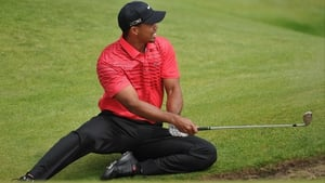 Tiger Woods' Open came a cropper on the sixth hole on Sunday where this sitting shot was attempted