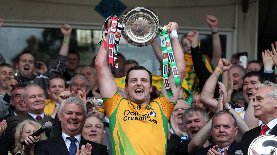 Donegal's captain Michael Murphy lifts the Anglo-Celt Cup