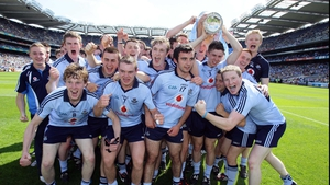 Dublin players celebrate with the cup after their 3-17 to 1-11 win in the minor game at Croke Park