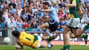 Bernard Brogan scores Dublin's first goal against Meath in the Leinster final