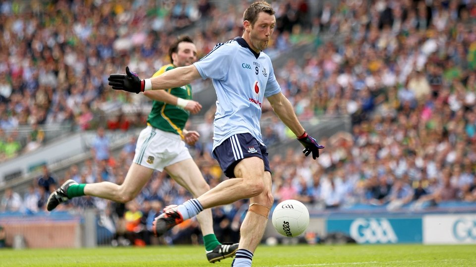 Denis Bastick scores Dublin's second goal on the stroke of half-time