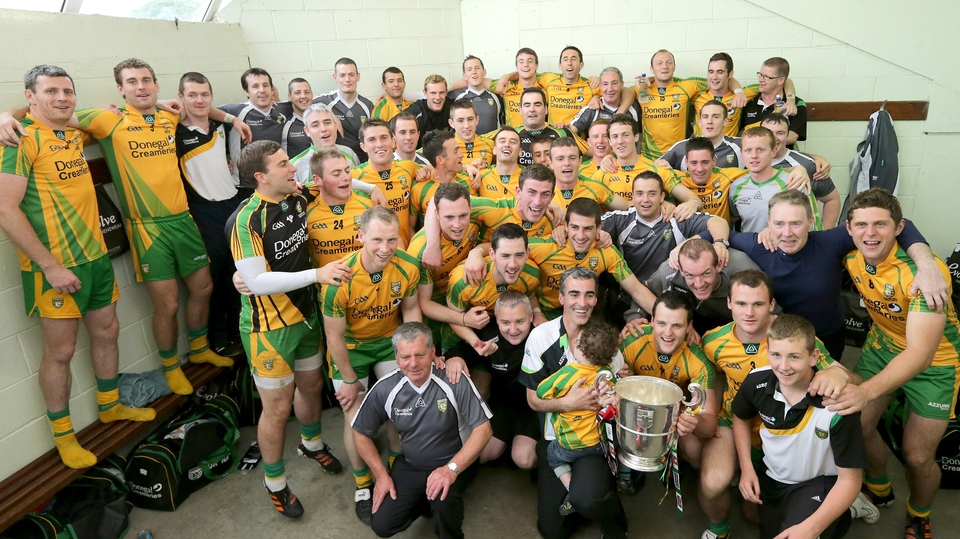 The Donegal squad celebrate their Ulster final win
