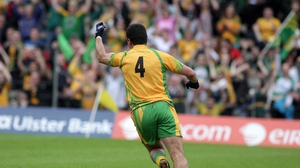 Donegal's Frank McGlynn celebrates after he scores his side's second goal
