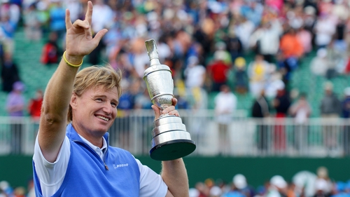 Els holds the Claret Jug after his stunning success at Royal Lytham and St Annes