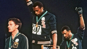 """""""One of the most iconic images of activism in sport"""": Tommie Smith and John Carlos on the podium at the 1968 Mexico Olympics"""