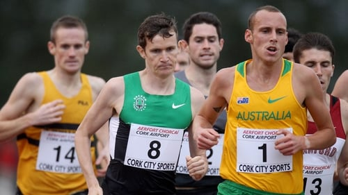 Ciaran O'Lionaird (number 8) finished fifth in the Cork City Sports mile race