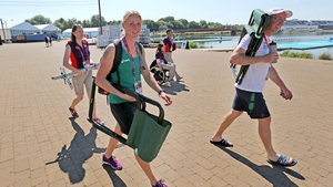 Sanita Puspure is joined in London by Adrian Cassidy (lead coach Rowing Ireland)