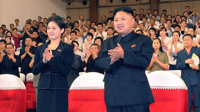 Kim Jong-un pictured with his wife earlier this year