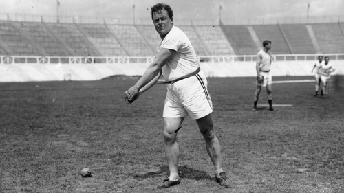 John Flanagan trains for the 1908 London Olympics. He went on to win the gold medal