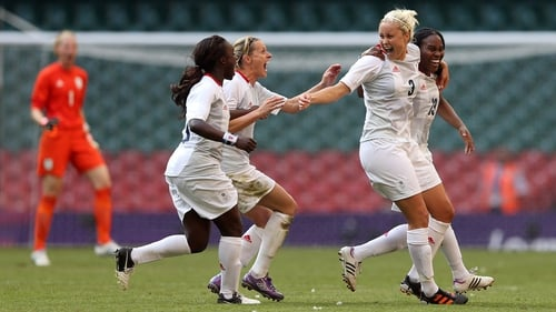 Great Britain's Stephanie Houghton, Eniola Aluko, Kelly Smith and Ifeoma Dieke celebrate their side's opening goal at the Millennium Stadium