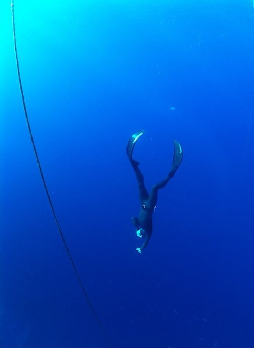 Feargus freediving in Sharm el Sheikh, Egypt