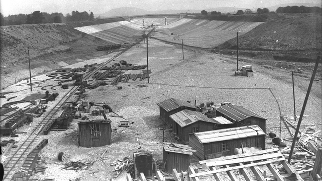 Areial view of the Shannon Scheme work in progress in the late 1920s (Pic: RTÉ Stills Library)