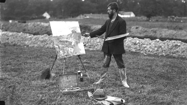 Sean Keating painting the Shannon Scheme (circa 1926) (Pic: RTÉ Stills Library)