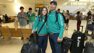 Katie Taylor and her father and coach Pete Taylor arrived in Heathrow Airport, London, today ahead of the Olympic Games