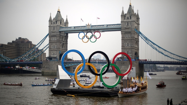 The Olympic flame was at Tower Bridge this afternoon