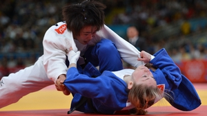Ireland's Lisa Kearney in her Judo match with Shugen Wu of China