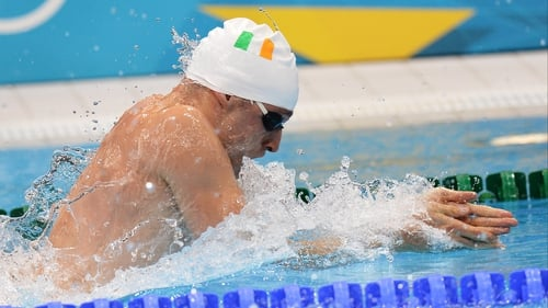 Barry Murphy lowered the national mark for the 50 metres breaststroke to 26.60 seconds