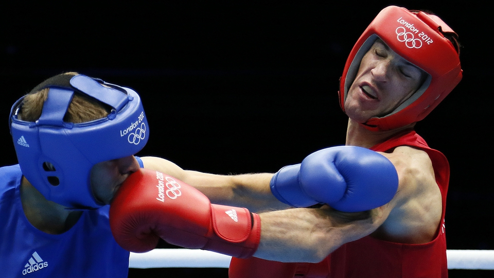 John Joe Nevin connects with Denmark's Dennis Ceylan in the bantomweight round of 32