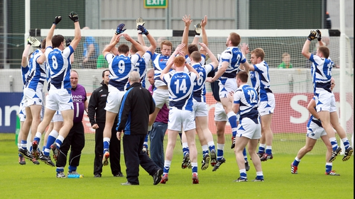 The Laois team during their warm up in Tullamore