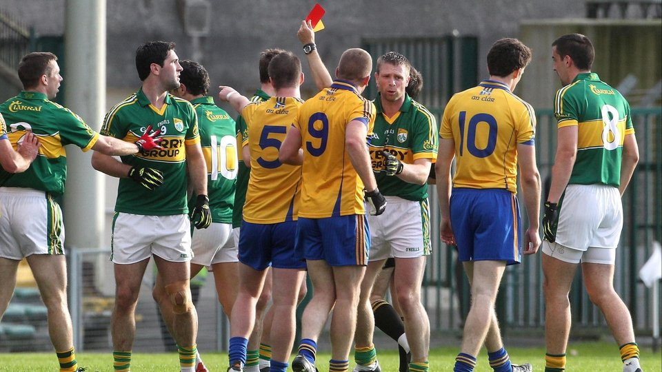 Kerry's Paul Galvin (10) was sent off by referee Maurice Deegan