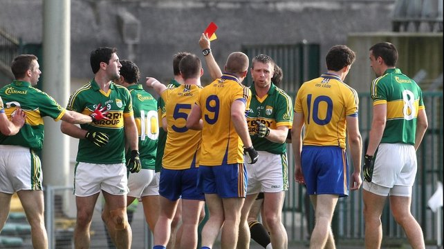 Referee Maurice Deegan shows a red card to Kerry's Paul Galvin last weekend