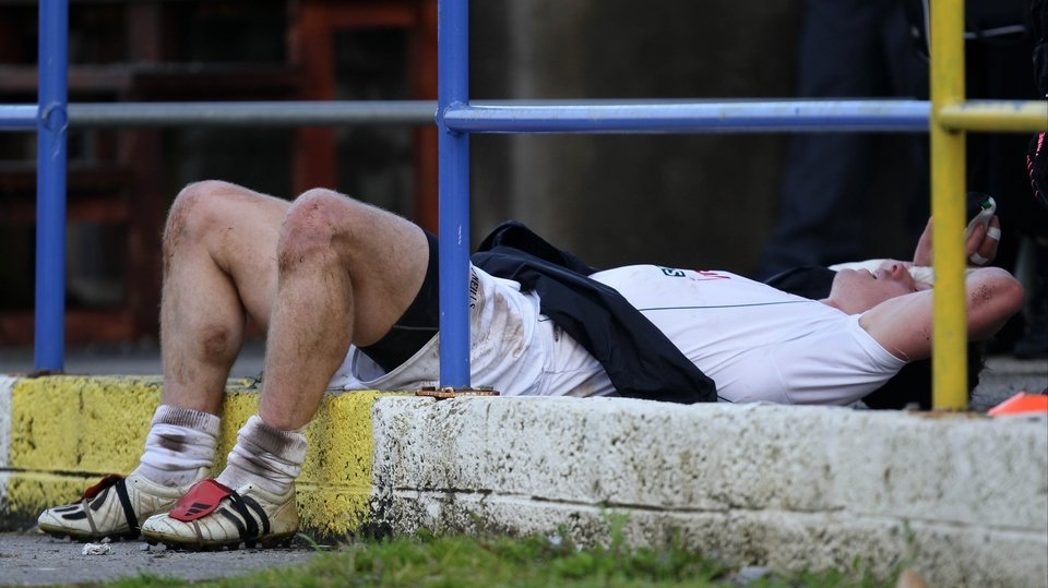Kildare's Emmet Bolton catches his breath after getting substituted during the final moments of the match