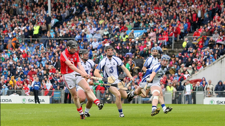 Cork's Jamie Coughlan fires what proved to be a crucial first-half goal to the net