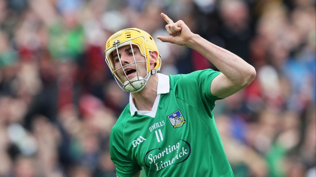 David Breen celebrates scoring Limerick's first-half goal