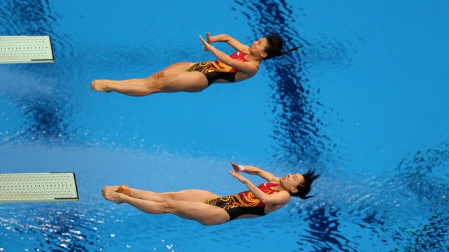 Wu Minxia and He Zi at the Aquatic Centre this afternoon