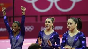 The US Gymnastics team celebrates
