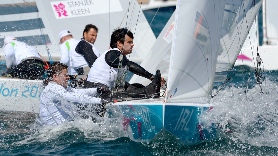 Peter O'Leary and David Burrows of Ireland in action in the Star Class sailing