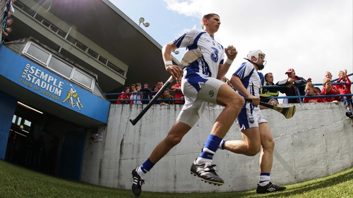 Waterford's Maurice Shanahan and Stephen Molumphy make their way out for the start of the game at Semple Stadium