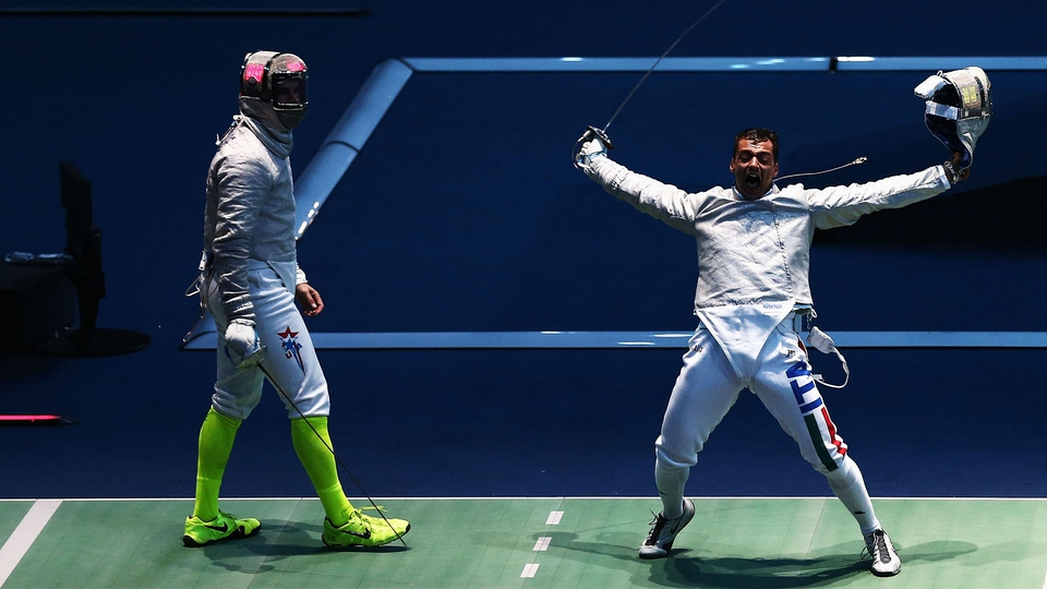 The Men's Sabre Individual Fencing Quater Final is won by Iego Occhiuzzi of Italy