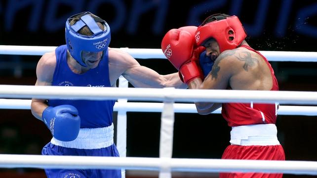 Adam Nolan penetrates Carlos Sanchez Estachio's defence at ExCel