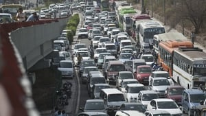 Traffic chaos is common in Delhi - this logjam last month was caused by a political protest