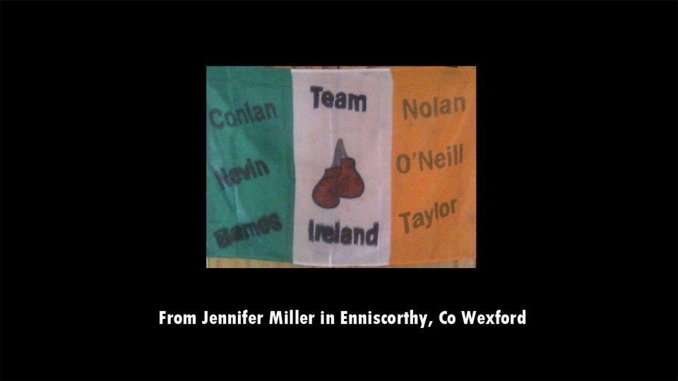 Jennifer Miller shows her support for the Irish boxing team