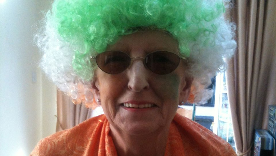 Joyce McLaughlin is all dressed up to support Team Ireland