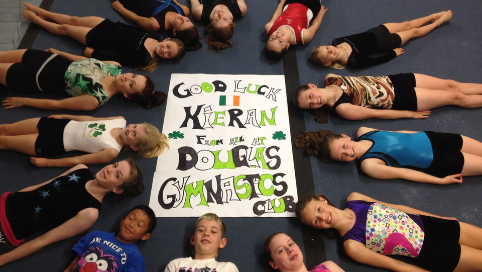 The possible future Olympians from Douglas Gymnastics Club are supporting Kieran Behan