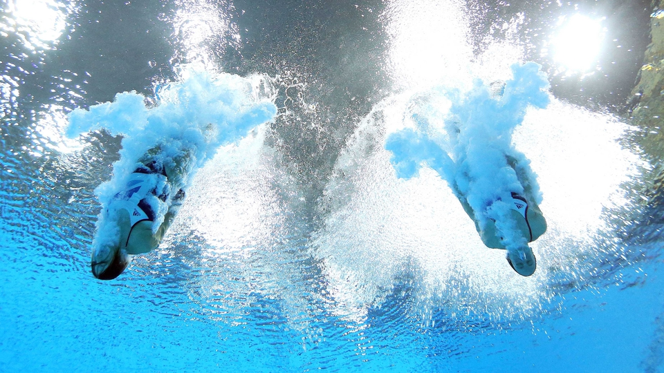 Rebecca Gallantree and Alicia Blagg of Great Britain compete in the women's synchronised 3m springboard diving final