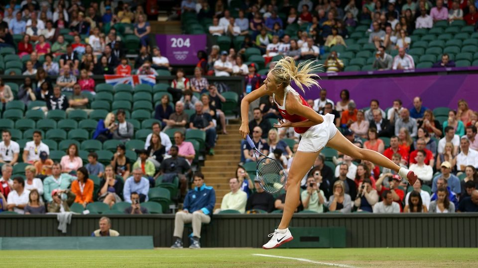 Maria Sharapova of Russia in action at Wimbledon in the Women's Tennis event