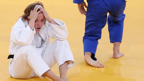 The pain of defeat is seen on  Concepcion Bellorin's face as the Spaniard reacts after her Women's -52 kg Judo bout