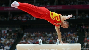 Yibing Chen performs for China at North Greenwich Arena