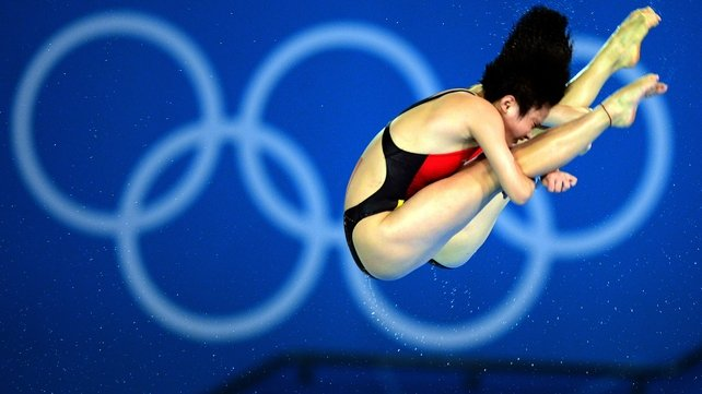 China's Chen Ruolin and Wang Hao compete in the synchronised 10m platform final
