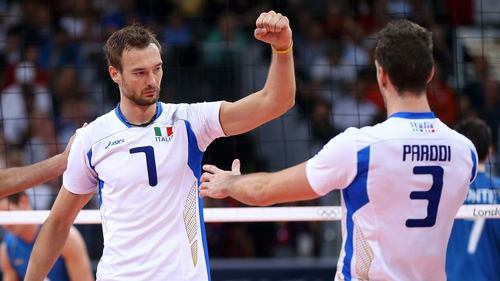 Michal Lasko and Simone Parodi of Italy celebrate a point in the fourth set against Argentina