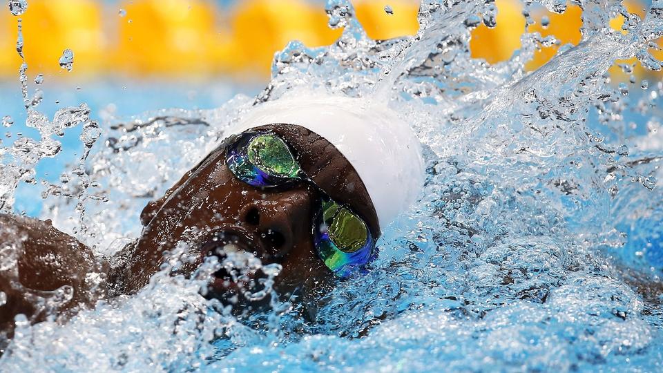 Beni Bertrand Binobagira of Burundi pictured in the Men's 100m Freestyle