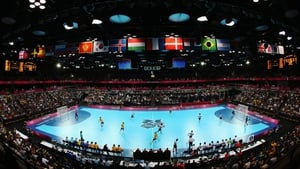 The stadium during the Men's Handball Preliminary match between Great Britain and Sweden